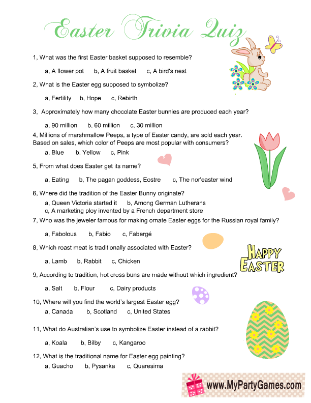 graphic regarding Printable Trivia Questions and Answers referred to as Absolutely free Printable Easter Trivia Quiz