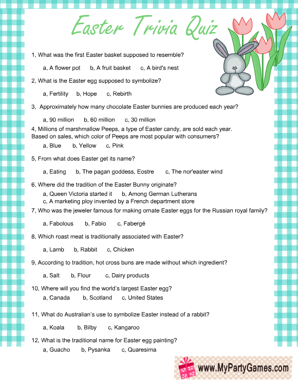 image about Printable Trivia Questions and Answers titled No cost Printable Easter Trivia Quiz