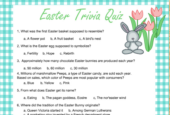 photograph relating to Animal Trivia Questions and Answers Printable named Free of charge Printable Easter Trivia Quiz