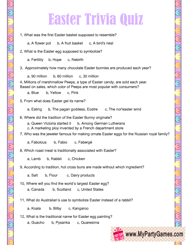 image relating to Printable Trivia named Absolutely free Printable Easter Trivia Quiz