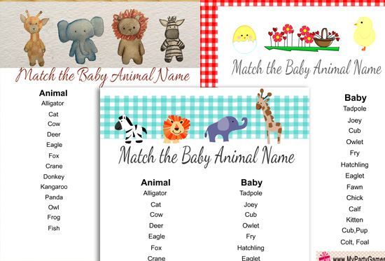 Free Printable Match The Baby Animal Game