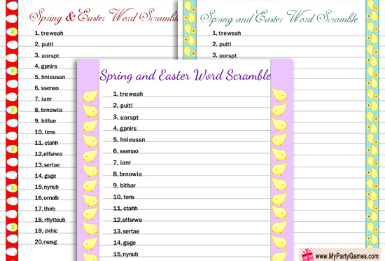 picture about Free Printable Word Scramble titled 7 Free of charge Printable Spring Phrase Scramble Puzzles