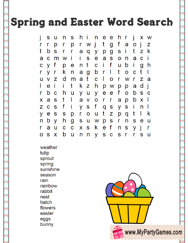 picture relating to Spring Word Search Printable called 5 Cost-free Printable Spring and Easter Phrase Glimpse Puzzles