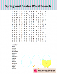 Spring Word Search Puzzle Free Printable