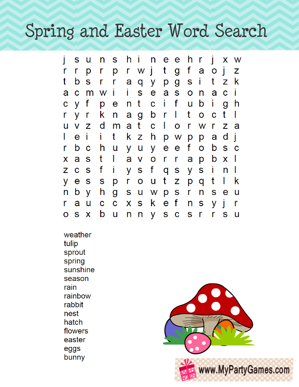graphic regarding Free Printable Spring Word Search called 5 Free of charge Printable Spring and Easter Phrase Glimpse Puzzles