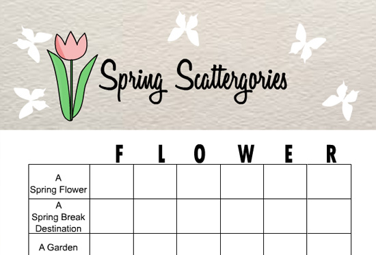 photograph regarding Printable Scattergories identified as Totally free Printable Spring Scattergories