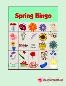 Free Printable Spring Picture Bingo Cards