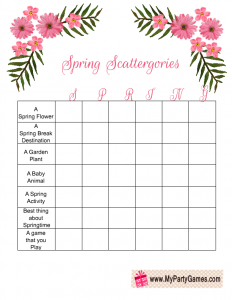 Free Printable Spring Scattergories Game with the Word 'Spring'