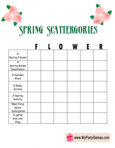 Free Printable Spring Scattergories Game with the Word 'Flower'