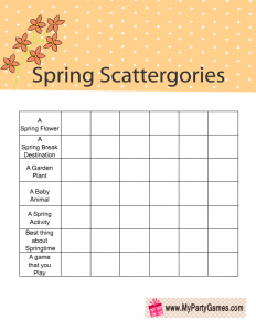 Free Printable Spring Scattergories Game Categories