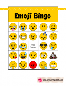 Free Printable Emoji Bingo Game Cards
