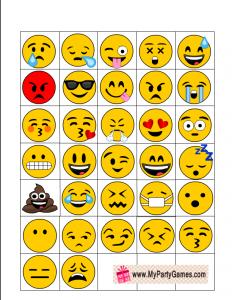 Emoji Bingo Game Caller's Checklist