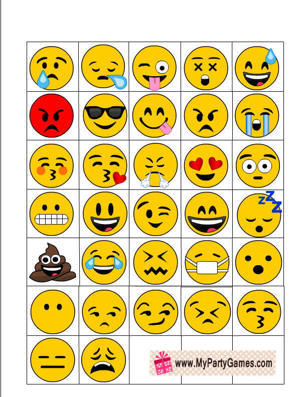 photo relating to Printable Emoji titled No cost Printable Emoji Bingo Recreation for Youngsters and Grownups