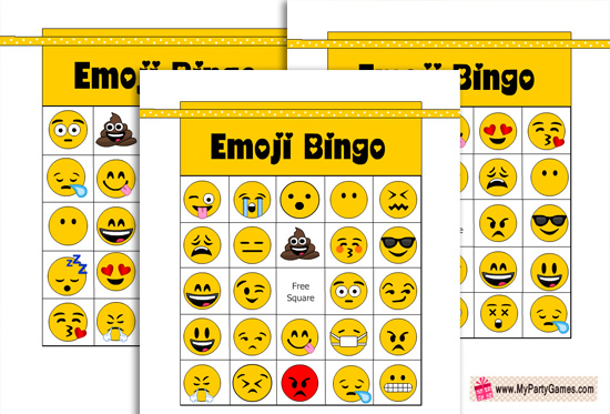photo about Printable Bingo Cards for Kids named Absolutely free Printable Emoji Bingo Activity for Young children and Grown ups