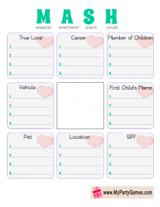 Free Printable MASH Game for Girl's Slumber Party