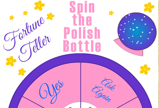 graphic regarding Printable Fortune Teller known as No cost Printable Spin the Nail Polish Bottle, Fortune Teller