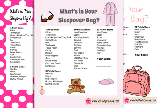 Free Printable What's in your Sleepover Bag? Slumber Party Game for Girls