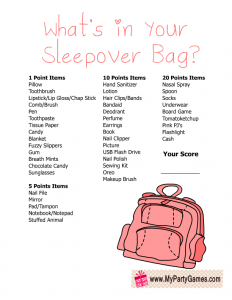 What's in your Sleepover Bag? Free Printable