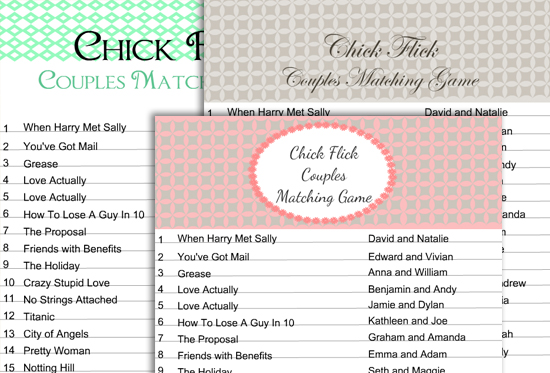 Free Printable Chick Flick Couples Matching Game