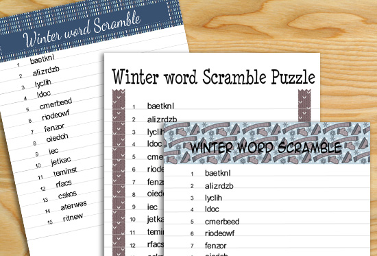 Free Printable Winter Word Scramble Puzzles
