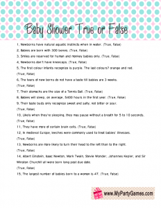 Baby Shower True or False Game,  Free Printable