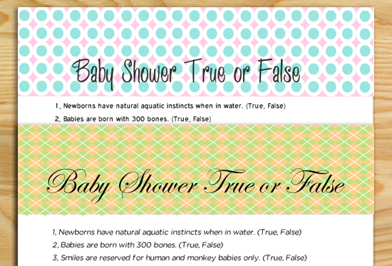 Free Printable Baby Shower True or False Game