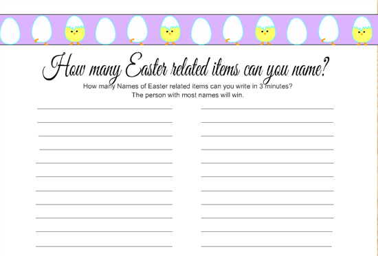 Free Printable, How many Easter Items can you name? Game