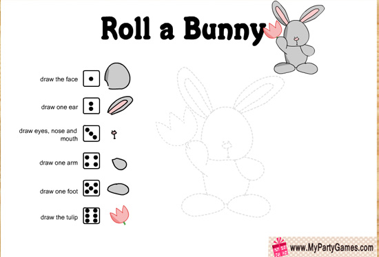 Free Printable Roll a Bunny, Spring and Easter Game