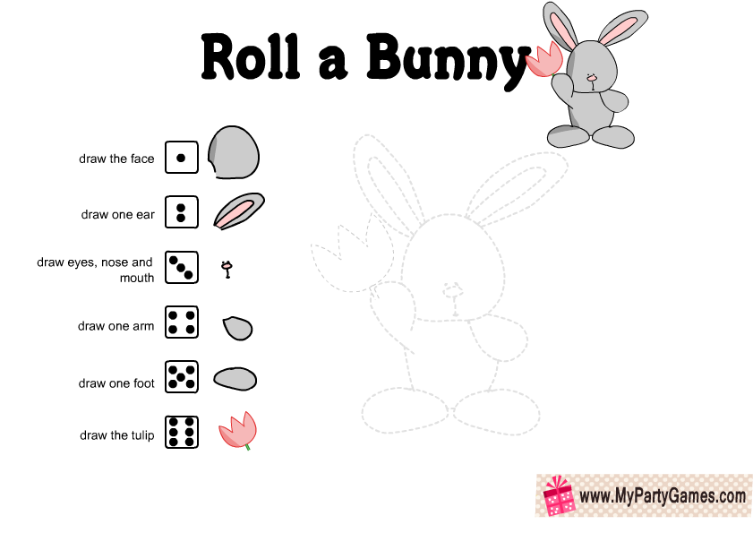 Free Printable Roll a Bunny Easter Game