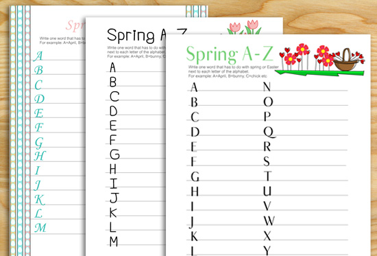 Free Printable Spring and Easter A to Z Game