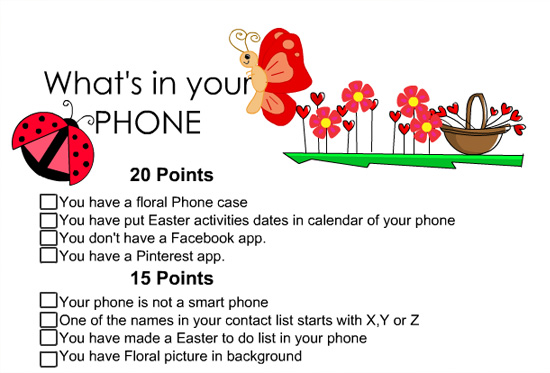 Free Printable What's in your phone game for Easter