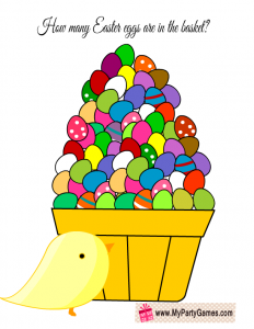 Free Printable How many Easter Eggs are in the Basket? Guessing Game