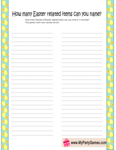 How many Spring and Easter words can you name? Free Printable Game