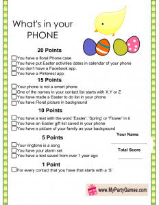 Easter What's in your Phone Game Printable