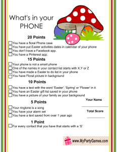 Easter and Spring themed What's in your Phone Game
