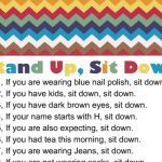 Free Printable Stand up, Sit down Game for Baby Shower