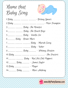 Free Printable Name that Baby Song in Blue Color