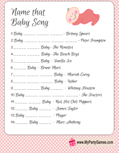 Name that Baby Song Game Printable in Pink Color