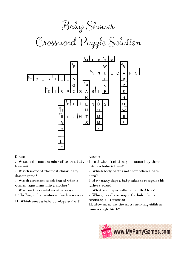 Baby Shower Crossword Puzzle Solution