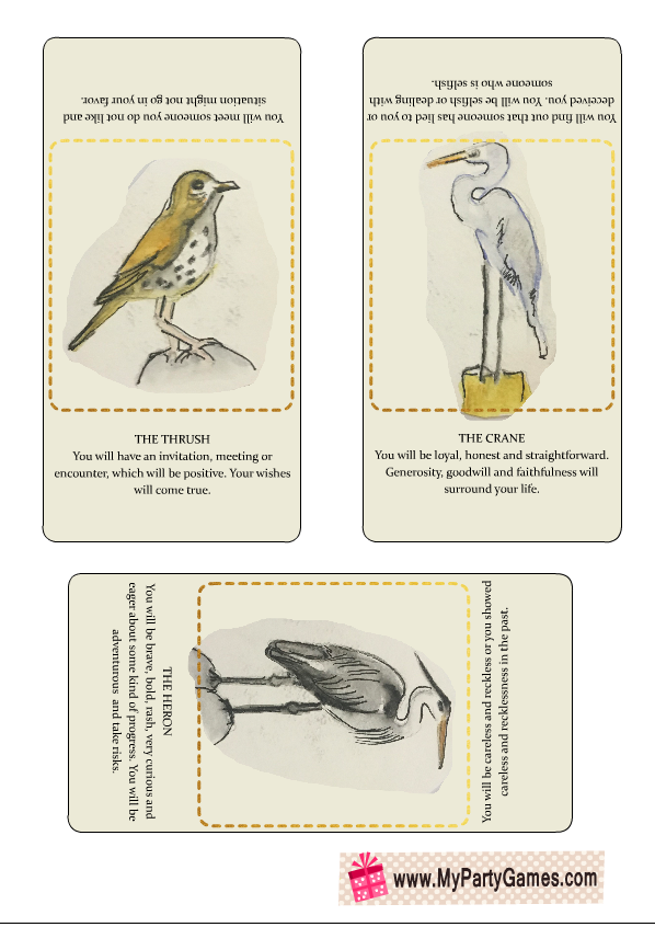 Fortune Telling Cards with Birds