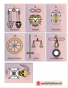 Free Printable Tarot Cards Major Arcana sheet 2