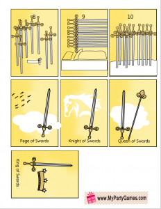 Free Printable Tarot Cards Minor Arcana Suit of Swords Sheet 2