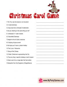 Printable Christmas Carol Guessing Game