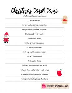 Free Printable Christmas Carol Game