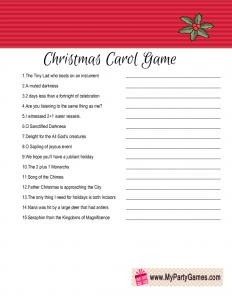 Free Printable Christmas Carol Guessing Game