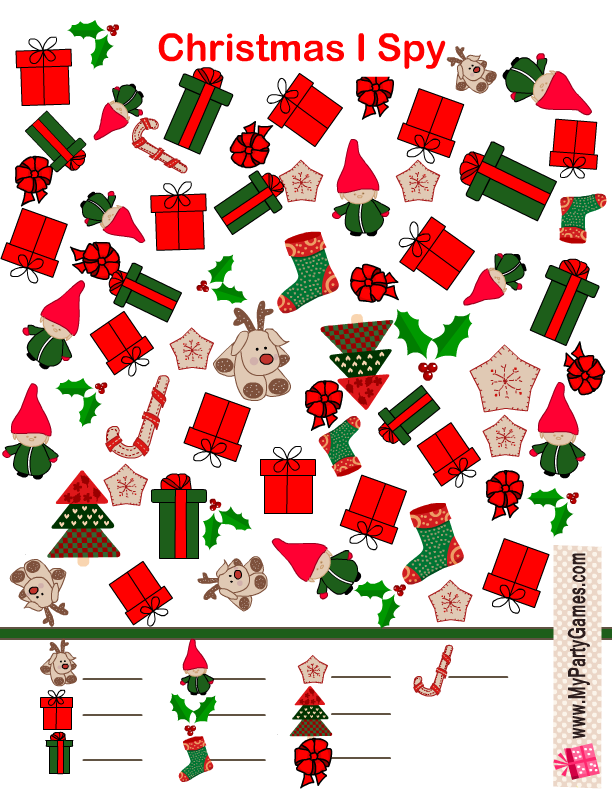Free Printable Christmas I Spy Game in Red and Green