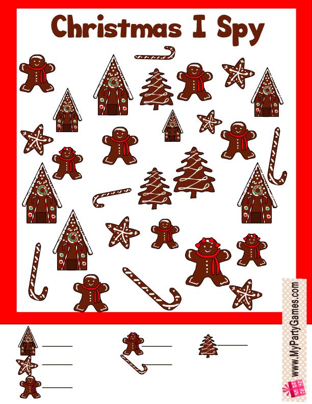 Gingerbread-man Christmas I Spy Activity