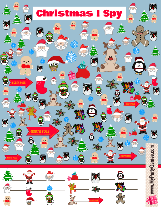 Free Printable Christmas I Spy Game with lots of objects