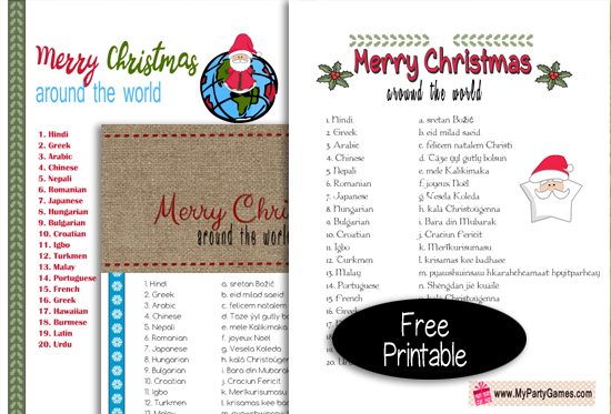 Free Printable Merry Christmas Around the World Game