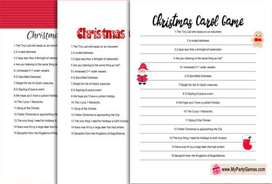 Free Printable Christmas Carol Game